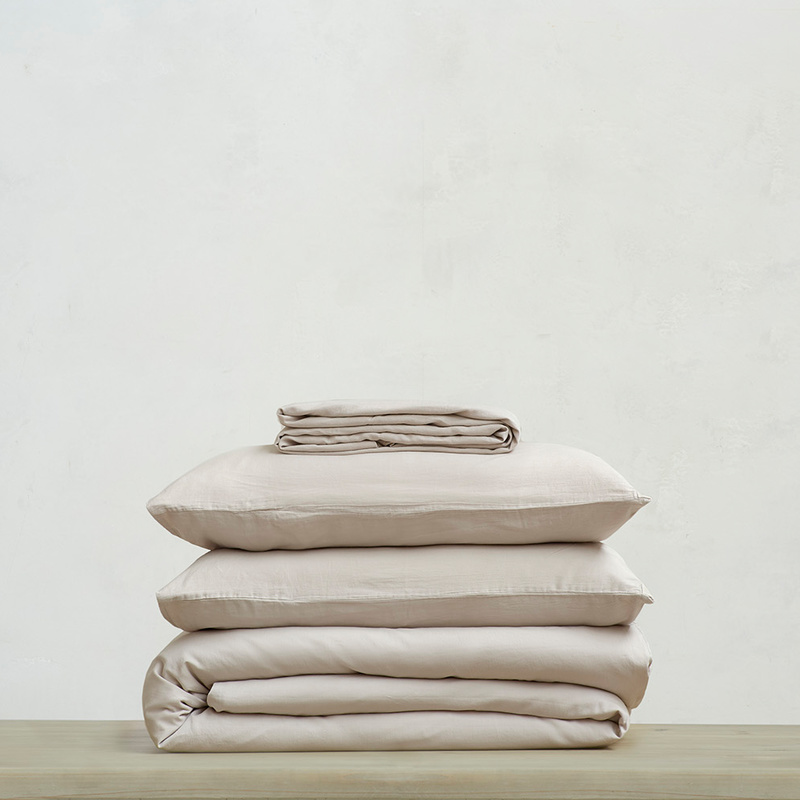 Tumbled Cotton super soft pure cotton Bed sheets bundle in Stone Grey