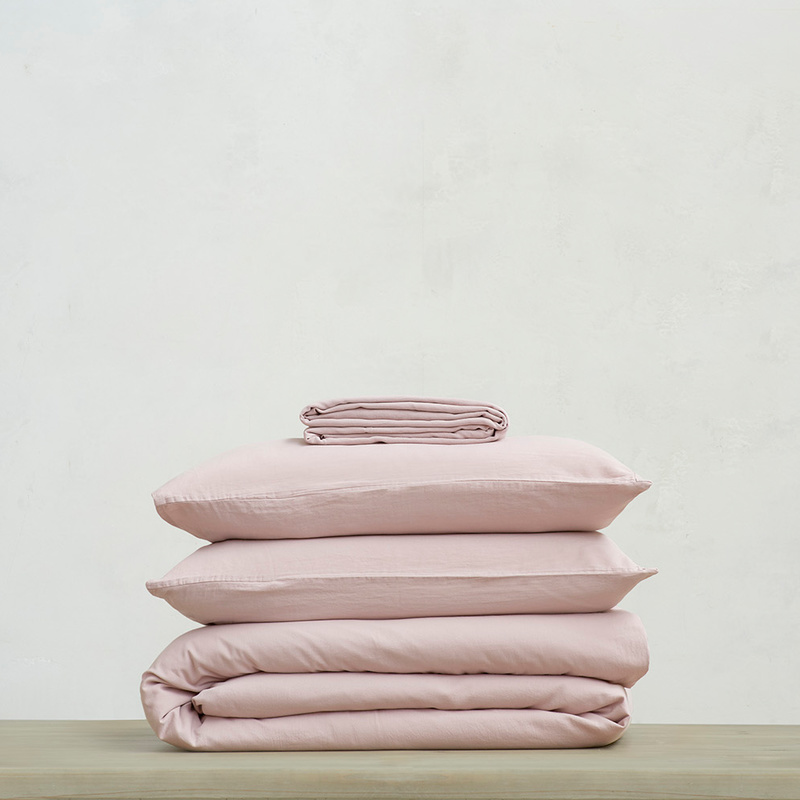 Tumbled Cotton super soft pure cotton Bed sheets bundle in Pink Putty