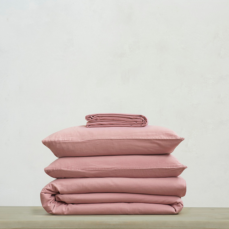 Tumbled Cotton 100 percent super soft Bed sheets bundle in Old Rose