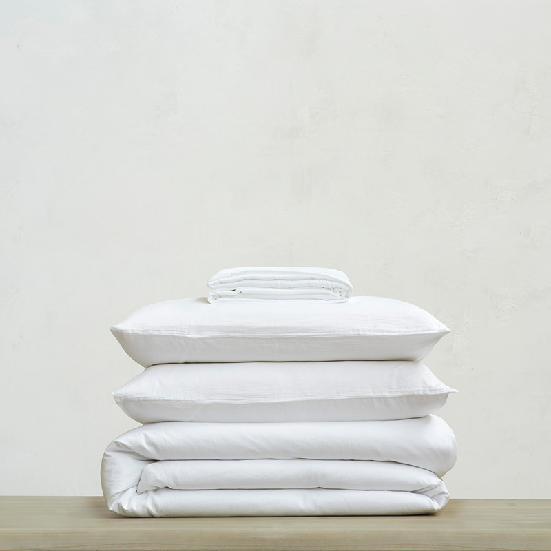 Tumbled Cotton super soft pure cotton Bed sheets bundle in White