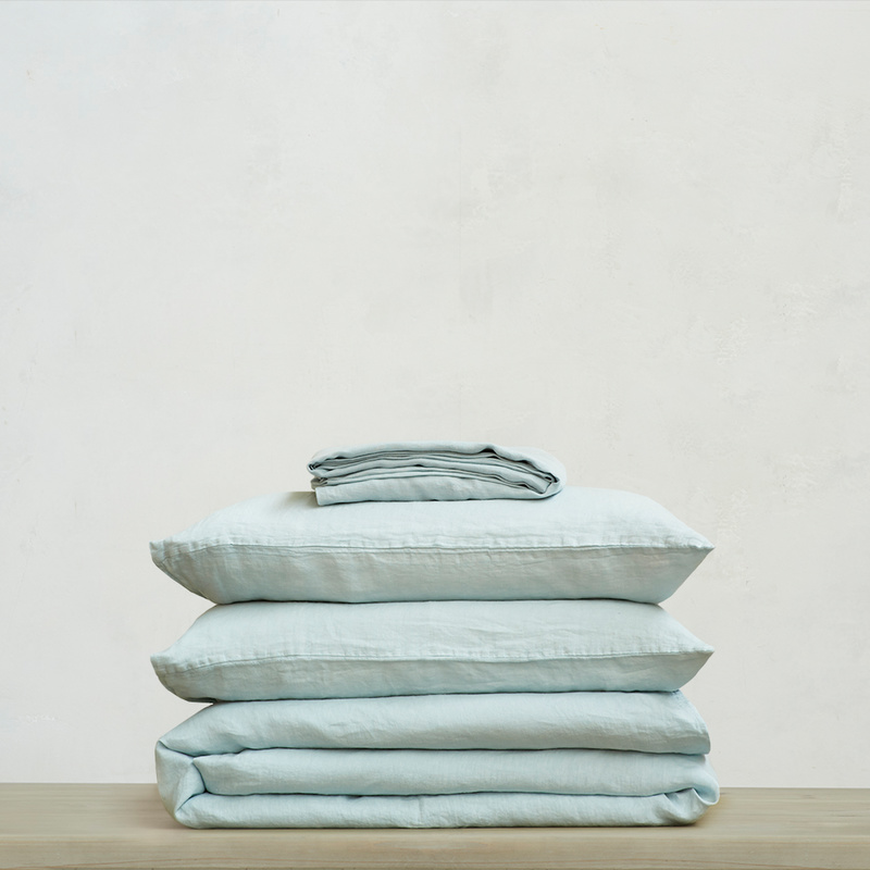 Lazy Linen 100 percent linen breathable Bed sheets bundle in Duck Egg
