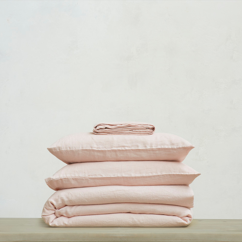 395219 lazy linen 100 percent linen breathable bed sheets bundle in dusty pink