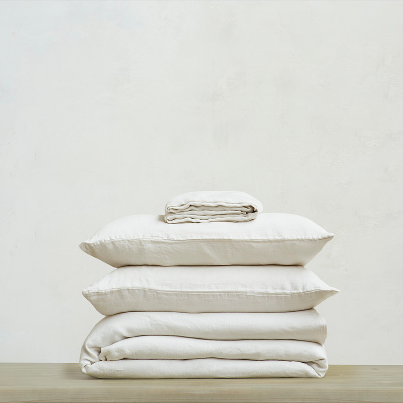 395222 lazy linen 100 percent linen breathable bed sheets bundle in oat